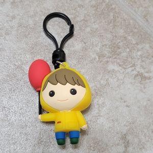 5/$10 Girl In Raincoat Red Ballon Keychain